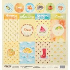 """Бумага для скрапбукинга Лист карточек """"Акварельная осень"""" Monadesign"""