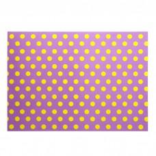 """Бумага для скрапбукинга """"Желтый горох на фиолетовом"""" Формат А4 (21х29,7 см)"""