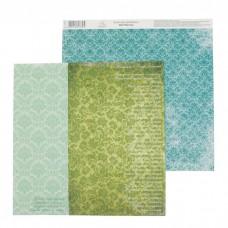 """Бумага для скрапбукинга Вдохновение """"Зеленый орнамент"""" 30.5 х 30.5 см 180 гр/м2"""
