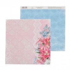 """Бумага для скрапбукинга Мелодия души """"Розовые лилии"""" 30.5 х 30.5 см 180 гр/м2"""