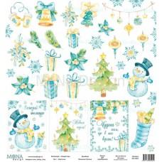 """Бумага для скрапбукинга Лист карточек """"Новый год""""  Monadesign"""