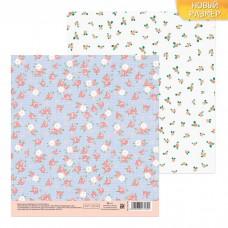 Бумага для скрапбукинга «Холща с цветочками», 15.5 × 15.5 см, 180 г/м