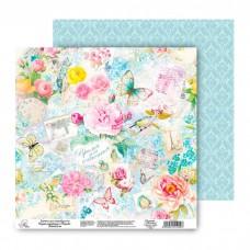 """Бумага для скрапбукинга Цветочная симфония""""Время для счастья"""" 30.5 х 30.5 см 180 гр"""