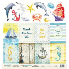 """Бумага для скрапбукинга Лист карточек """"Sea party1""""  Monadesign"""