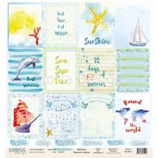 """Бумага для скрапбукинга Лист карточек """"Sea party2"""" Monadesign"""
