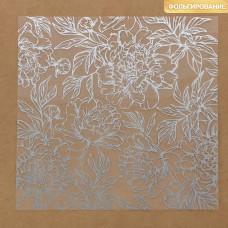 Ацетатный лист с фольгированием «Серебряные пионы», 20 × 20 см