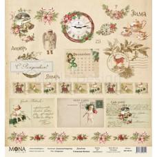 """Бумага для скрапбукинга Лист карточек """"Сказочное рождество"""" Monadesign"""