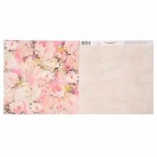 """Бумага для скрапбукинга Цветочная симфония""""Розы"""" 30.5 х 30.5 см 180 гр/м2"""