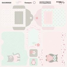 Бумага для скрапбукинга двусторонняя Конверты Baby Girl 20х20см от Scrapmir