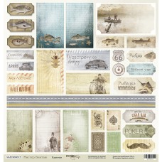 Бумага для скрапбукинга односторонняя Карточки из коллекции Мистер Винтаж 30х30см от Scrapmir