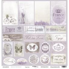 Бумага для скрапбукинга односторонняя Карточки из коллекции French Provence 30х30см от Scrapmir