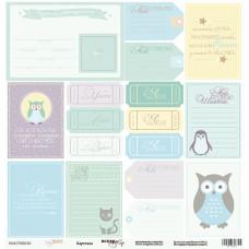 Бумага для скрапбукинга односторонняя Карточки из коллекции Baby Boy 30х30см от Scrapmir