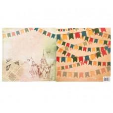 """Бумага для скрапбукинга Старинный цирк""""Спешите увидеть"""" 14.5 х 14.5 см 180 гр/м2"""