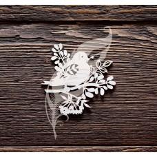 Чипборд Снегирь на веточке, 6х5,7 см