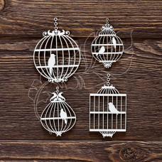Чипборд Клетки с птицами (4 элемента, 9х11,8 см)