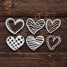 Чипборд Набор сердечек №1 (высота сердечка 4,5 см, набора 10,5х14 см)