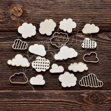 Чипборд. Набор облака, 15 элементов, самый маленький элем. 2,7 × 1,7 см, самый большой элем. 4,2 × 2,3 см.