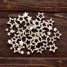 """Чипборд """"Набор звезды"""", 50 элементов, самый маленький элем. 0,8 × 0,8 см, самый большой элем. 2,5 × 2,3 см."""