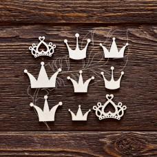 Чипборд. Набор короны, 9 элементов, самый маленький элем. 2,1 × 1,5 см, самый большой элем. 3,6 × 2,5 см.