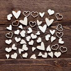 """Чипборд """"Набор сердечки"""", 50 элементов, самый маленький элем. 1,6 × 1,5 см, самый большой элем. 2,5 × 2,5 см."""