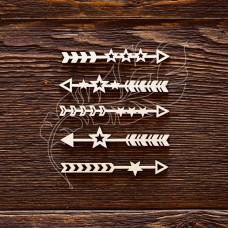 "Чипборд ""Стрелочки - звездочки"", 5 элементов, Указан размер 1 элемента, размер 6 × 0,8 см."