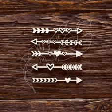 "Чипборд ""Стрелочки - сердечки"", 5 элементов, Указан размер 1 элемента, размер 6 × 0,8 см."