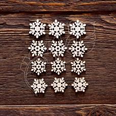"""Чипборд """"Набор Снежинок №8"""", 12 элементов, самый маленький элем. 1,6 × 1,9 см, самый большой элем. 1,8 × 2,1 см."""
