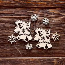 """Чипборд """"Новогодние колокольчики"""", 7 элементов, самый маленький элем. 1,3 × 1,5 см, самый большой элем. 3,9 × 4,9 см."""