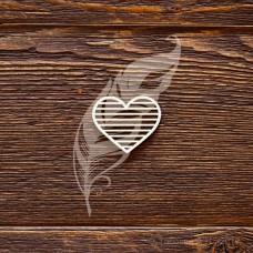 """Чипборд """"Полосатое сердечко"""", размер 3,5 × 3 см."""