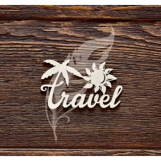 Чипборд. Надпись Travel, размер 6,5 × 3,9 см.