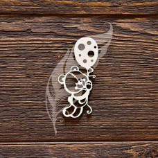"""Чипборд """"Мишутка с воздушным шариком"""", размер 3,3 × 6,5 см."""