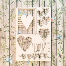 """Набор чипборда """"Love is..."""" 10х15 см"""