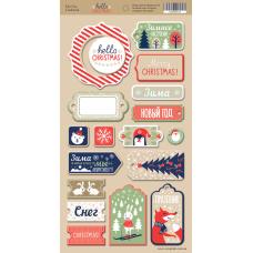 Набор чипборда для скрапбукинга Hello Christmas 18шт.  от Scrapmir