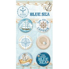 Набор украшений BLUE SEA, Скрап-фишки (топсы), 6 шт., диаметр 2,5 см Bee Shabby