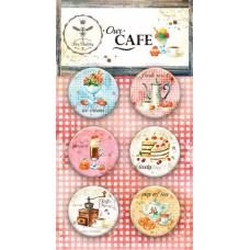 Набор украшений Our CAFE, Скрап-фишки (топсы), 6 шт., диаметр 2,5 см Bee Shabby