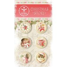 Набор украшений CHRISTMAS STORY, Скрап-фишки (топсы), 6 шт., диаметр 2,5 см Bee Shabby