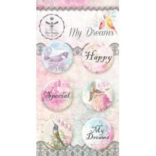 Набор украшений My Dreams, Скрап-фишки (топсы), 6 шт., диаметр 2,5 см Bee Shabby