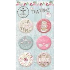 Набор украшений TEA TIME, Скрап-фишки (топсы), 6 шт., диаметр 2,5 см Bee Shabby
