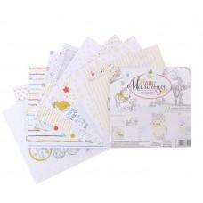 """Набор бумаги для скрапбукинга """"Наше Маленькое чудо"""", Медвежонок Винни, 12 листов, 14.5 х 14.5 см, 160 г/м2"""