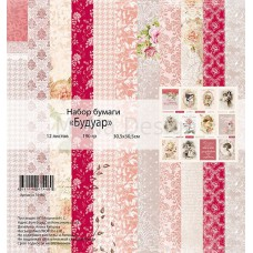 Набор бумаги  Будуар 12 листов 30,5х30,5см, 190 гр., MONAdesign