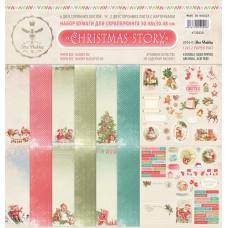 Набор бумаги для скрапбукинга CHRISTMAS STORY, 8 двусторонних листов, плотностью 190 г/м. Размер 30.48х30.48 см. Bee Shabby
