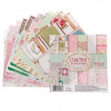 """Набор бумаги для скрапбукинга """"Счастье в мелочах"""" 12 листов 15.5 х 15.5 см 180 гр/м2"""
