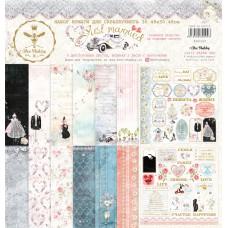 Набор бумаги для скрапбукинга Just Married, 8 двусторонних листов + лист бонус (оборот обложки) плотностью 190 г/м. Размер 30.48х30.48 см. Bee Shabby.