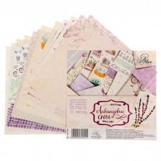 """Набор бумаги для скрапбукинга """"Лавандовые сны"""" 12 листов 15.5 х 15.5 см 180 гр/м2"""