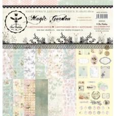 Набор бумаги для скрапбукинга MAGIC GARDEN содержит 8 двусторонних листов, 6 фонов и 2 листа с карточками. + лист бонус (оборот обложки). Размер 30.48х30.48см. Плотность 190 гр. Bee Shabby.