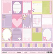 Бумага для скрапбукинга односторонняя Карточки из коллекции Наша Малышка 30х30см от Scrapmir