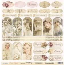 Бумага для скрапбукинга односторонняя Карточки из коллекции Наша Свадьба 30х30см от Scrapmir