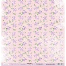 Бумага для скрапбукинга односторонняя Гортензии из коллекции Сиреневые мечты 30х30см от Scrapmir