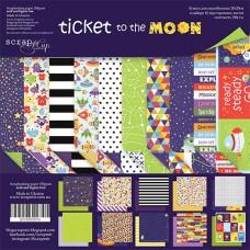 Набор двусторонней скрапбумаги  Ticket to the Moon   10шт, 20х20см от Scrapmir