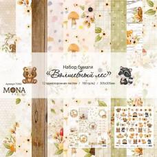 Набор бумаги  Волшебный лес 12 листов 30,5х30,5см, 190 гр., MONAdesign